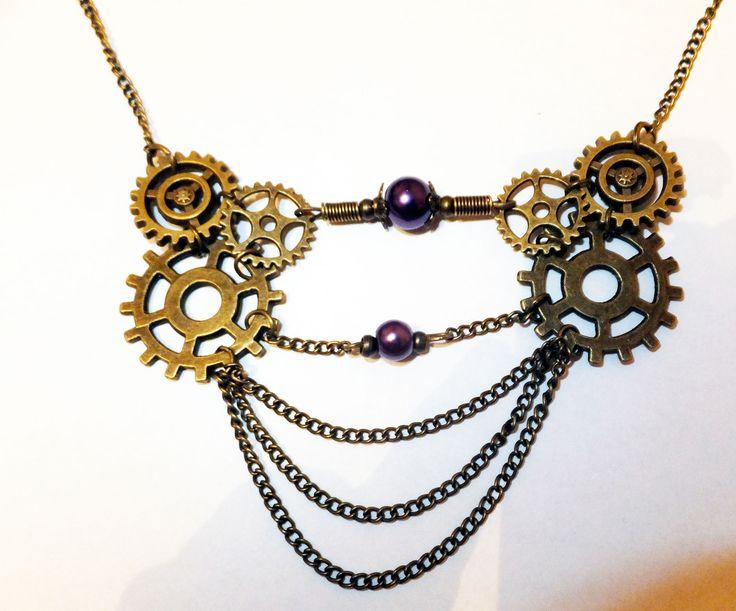 Kit Collier vintage Steampunk engrenages violet nacré