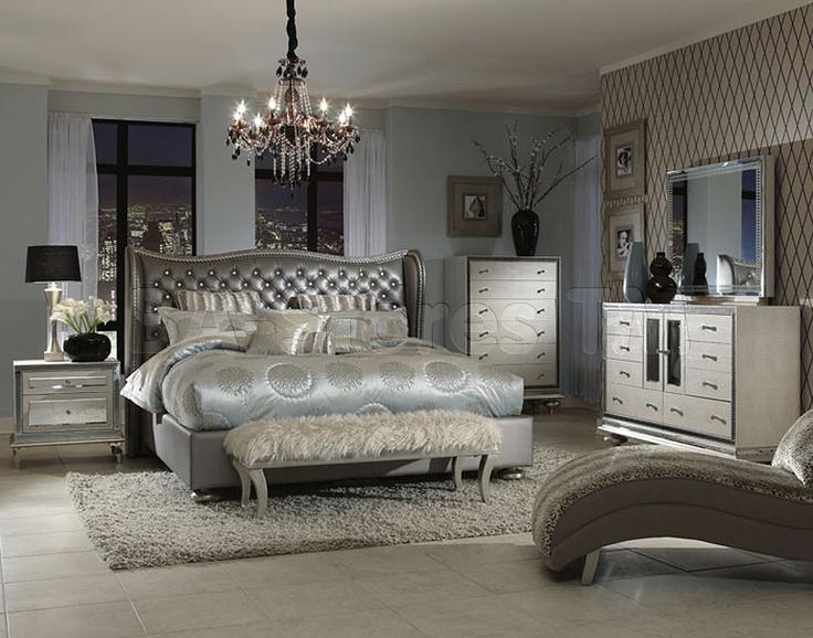 Upholstered King Bedroom Sets hollywood swank upholstered crystal croc bedroom set (bed