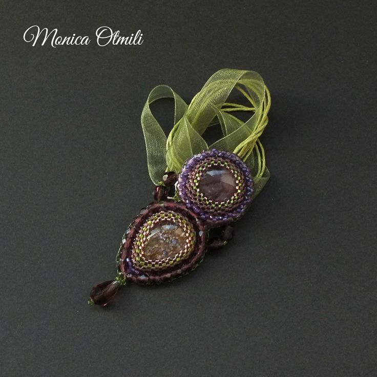 'Lavender Path' pendant by Monica Otmili  #romantic #beaded #beadwork #amethyst #glass #nature #provence #france #necklace #pendant #jewelry #purple