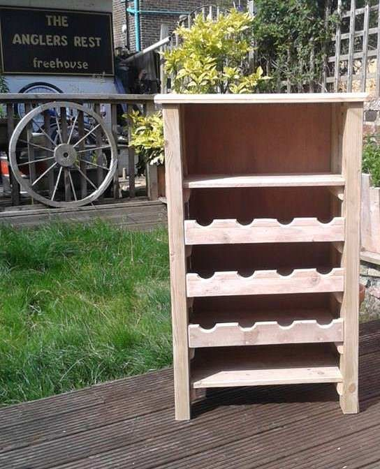 Cool Pallet Wine Cabinet  #bar #kitchen #palletfurniture #palletwinerack #repurposedpallet #wine An Idea I saw on Pinterest but tweaked it a little to suit our needs. Made entirely from pallets. Plenty of work needed with hole cutters and routers ...