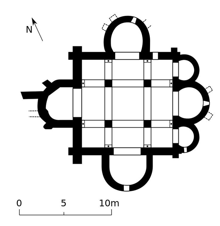 """""""Plan germigny carolingien"""" autorstwa JMaxR - Praca własna. Licencja CC BY-SA 2.0 fr na podstawie Wikimedia Commons"""