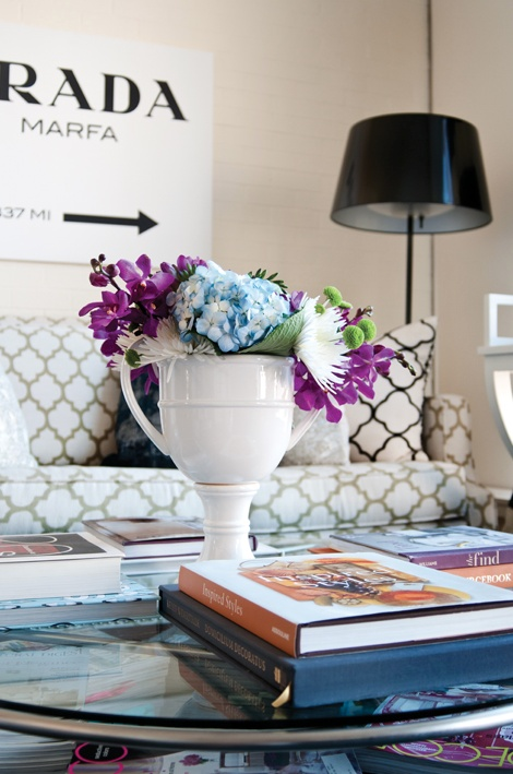 Meredith Heron's office with a prada marfa print