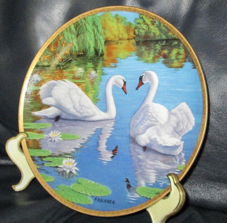 "W. S. George Plate ""The Swan"" by James Faulkner  Elegant Birds Series Porcelain"
