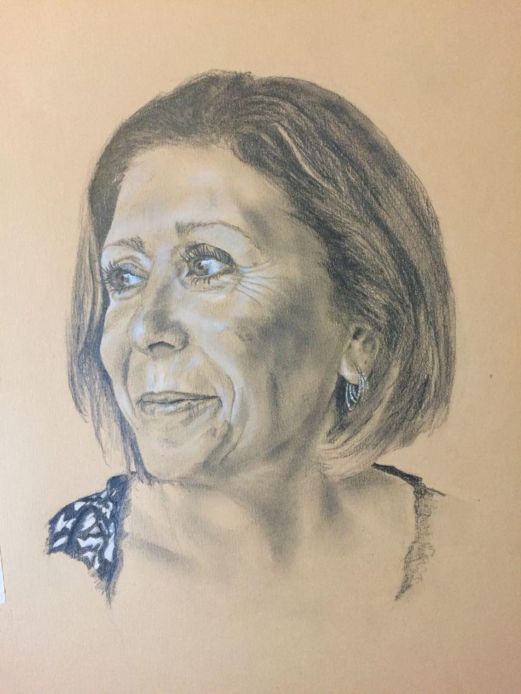 Carol - Pencil and white pastel. Sept 2015