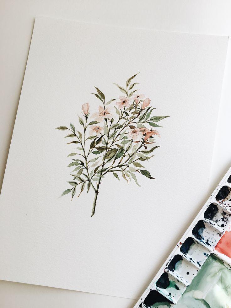 Delicate Floral Branch Watercolor Painting 9 x 12 ORIGINAL