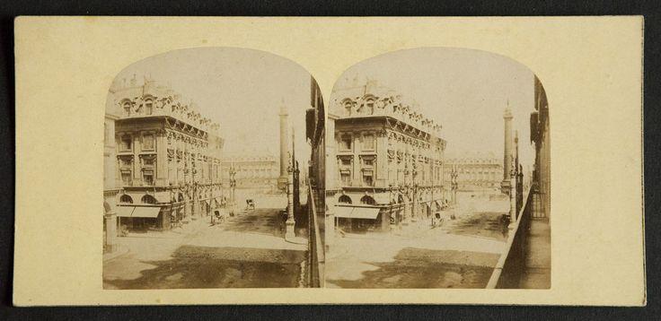 PHOTOGRAPHIE STEREOSCOPIQUE PLACE VENDOME Paris, époque SECOND EMPIRE