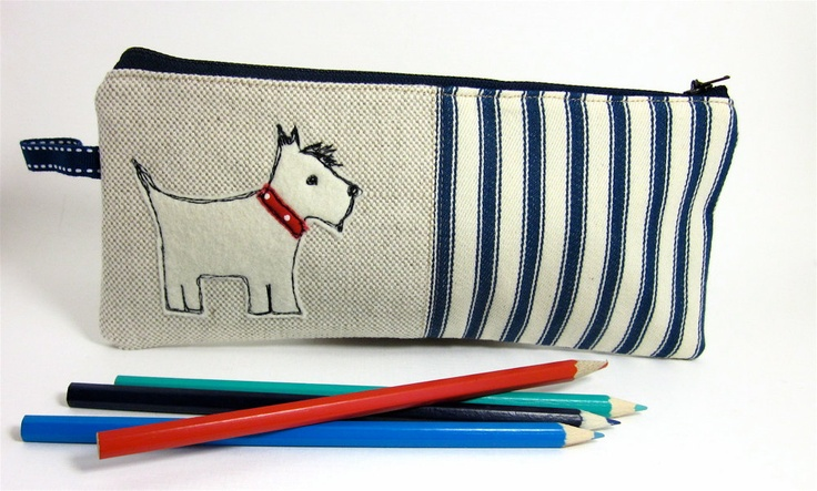 Pencil Case Scotty Dog and Blue Ticking by modernandvintage