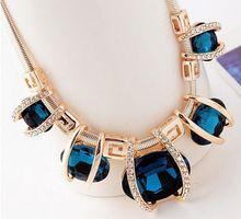 Gemme della collana del pendente delle donne 2016 breve della catena del collare bib dichiarazione collane gioielli bijoux collier gioielli di moda(China (Mainland))