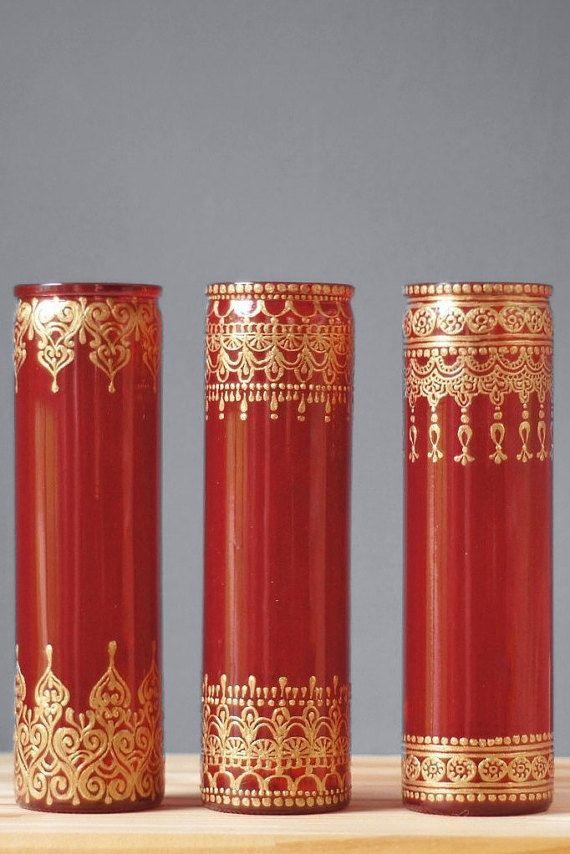 Boho hennè matrimonio vaso Set, nozze vasi dipinti per il vostro centrotavola matrimonio, Gypsy Wedding Decor monofiore  Questo elenco è per tutti i