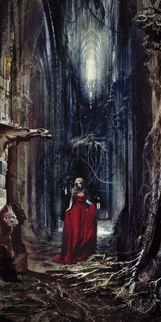 Egad! Love a good red dress amidst a rotten landscape.