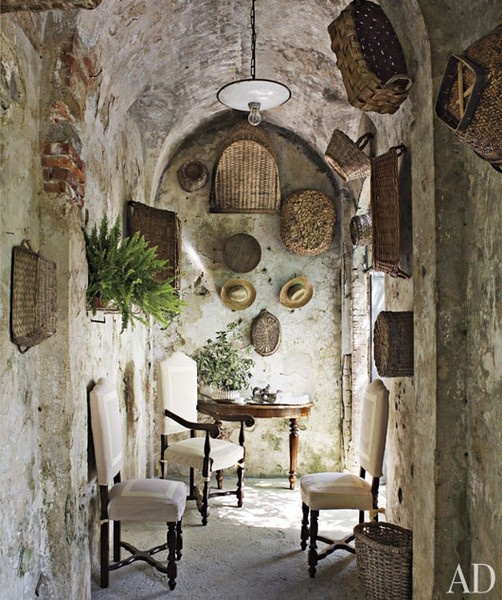 -This is worthy of another repin.<3Decor, Ideas, Old Baskets, Stones Wall, Interiors, House, Architecture Digest, Stones Home, Tuscan Style