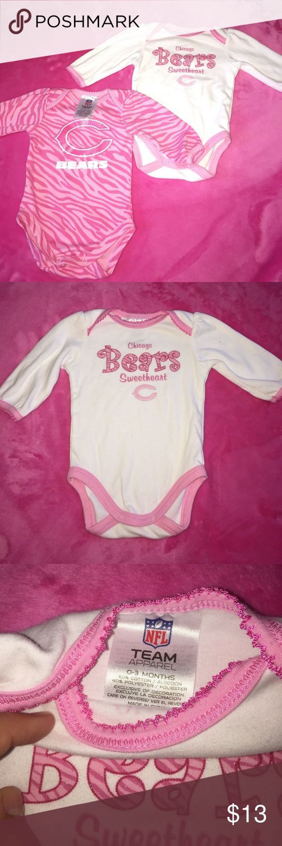 Chicago Bears 0-3 Months onezies 2 onezies for the price of 1! Brand is original NFL team apparel 🌸 nfl team apparel  One Pieces Bodysuits