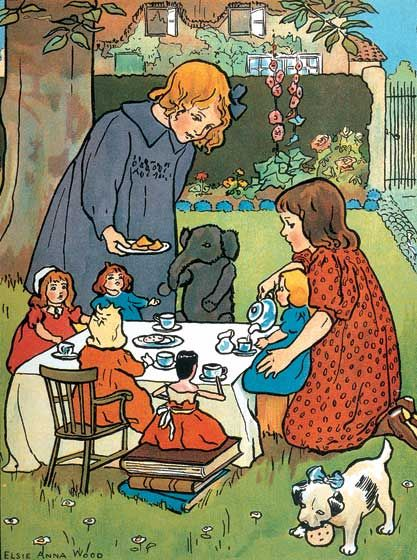 """Tea Party"" by Elsie Anna Wood (1887-1978), British painter."