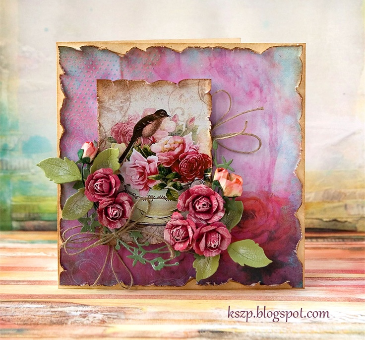 Flowers and bird card