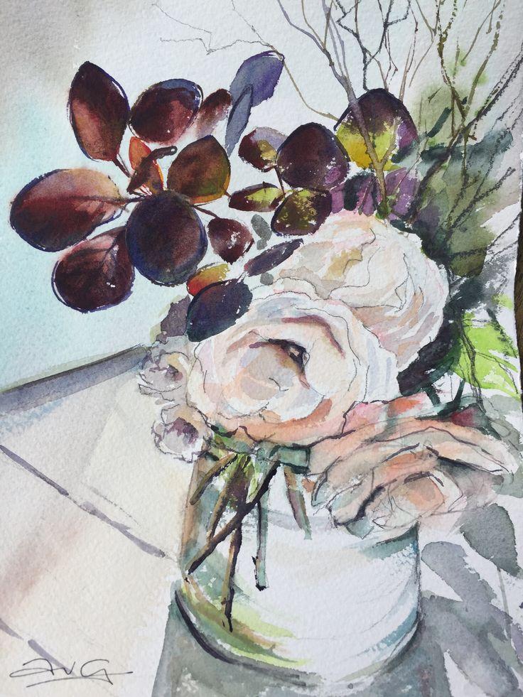 Emily's Rose, smoke bush, glass vase, watercolour, Anita van Grootveld