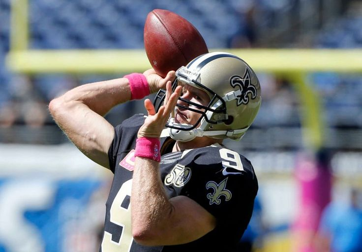 Saints vs. Chargers Updated October 2, 2016  -  35-34:     New Orleans Saints quarterback Drew Brees warms up before an NFL football game against the San Diego Chargers, Sunday, Oct. 2, 2016, in San Diego.