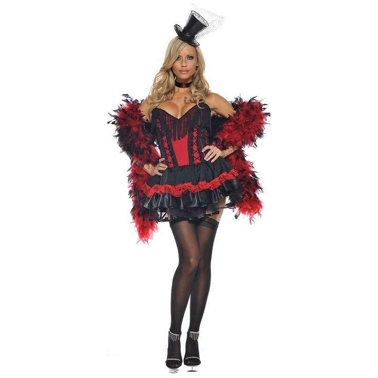 Saloon Girl Costume Adult Moulin Rouge Can Can Burlesque Halloween Fancy Dress #BeWicked