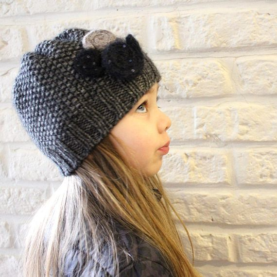 Girl's Cashmere hat Flower hat Toddlers beanie Gray hat