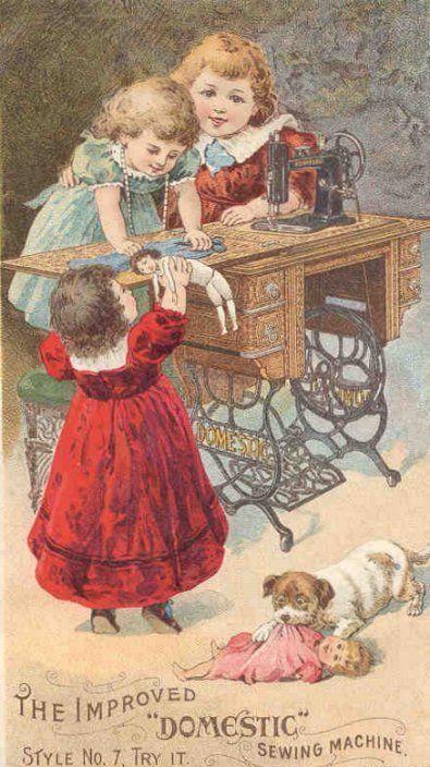 Victoran trade card - vintage girls sewing