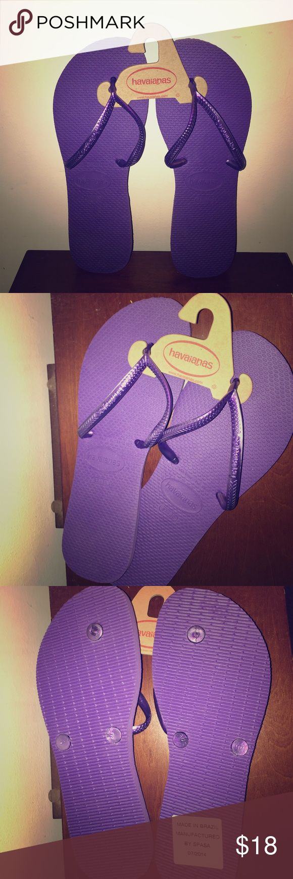 NWT 💝 Havaianas Purple 💜 Flip Flops Brand new Havaianas in a beautiful Purple color! Never worn. Smoke free. Bundle for additional discounts 🛍. Havaianas Shoes Sandals