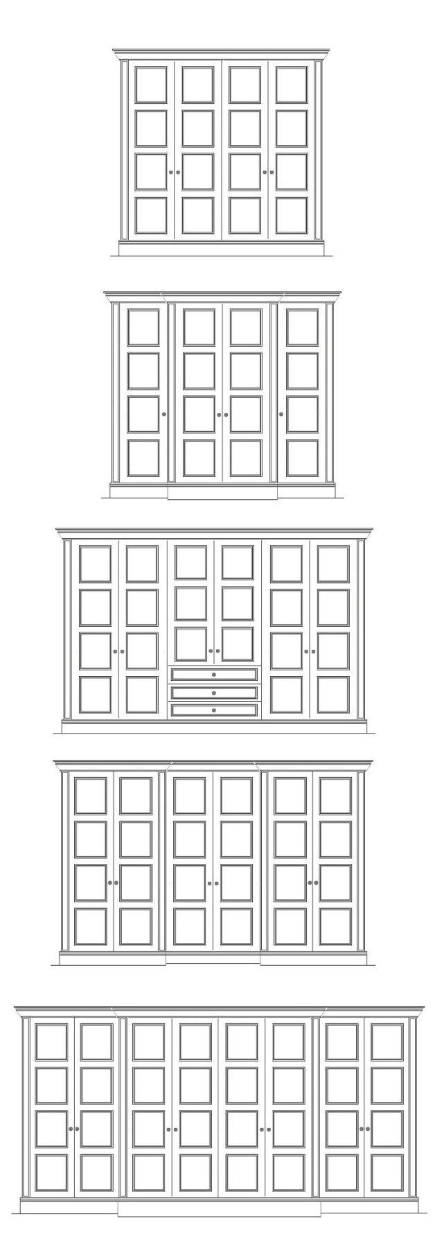 Edwardian Style Four Panel Wardrobe Door. Bespoke wardrobe designs including breakfront, recess front and various door combinations