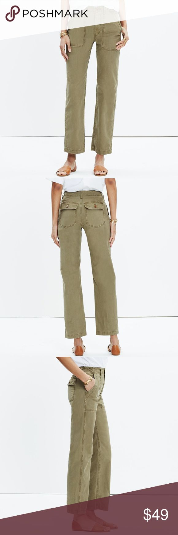 Madewell Ollie Pants Size 26 A fresh take on chinos with a vintage feel, these high-rise pants have a seriously good back view (it's kind of our design team's specialty). Specially garment-dyed for rich, dimensional color, these are the pair you wish you could find at the army surplus.    100% cotton. Sit slightly above hip, fitted through hip and thigh, with a straight leg. In excellent condition! Happy Poshing ladies!💁🏾✨ Madewell Pants