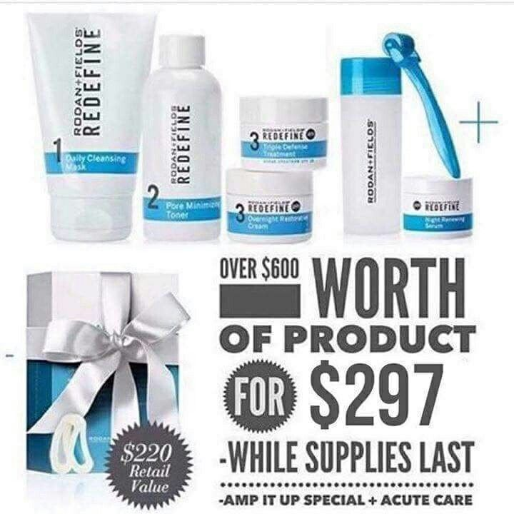 We have an amazing special going on through the end of this month. For only $297 you get the REDEFINE regimen plus AMP MD ROLLER plus ACUTE CARE SYSTEM. People this is over $600 worth of products. Message me today about this amazing deal!!