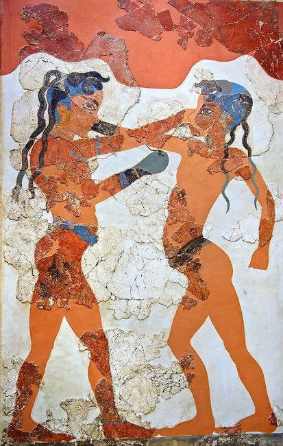 "Photo of Minoan Fresco wall painting of "" Boxing Youths""  from Minoan Bronze Age settlement  of Akrotiri on the Greek island of Thira, Santorini, Greece"