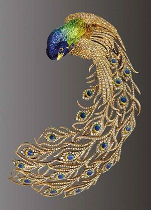 Peacock brooch, Mellerio dits Meller, Paris, c. 1905, composed of gold, diamonds and enamel.