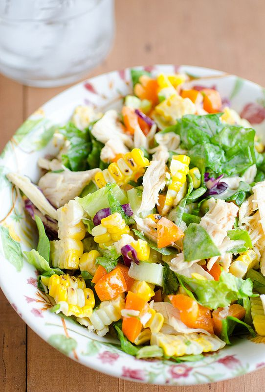 Recipe for Chicken and Grilled Corn Salad with Greek Yogurt Vinaigrette - Totally a perfect tasty little salad, quick to toss together for lunch or a side, with a sweet and tangy Greek yogurt dressing.