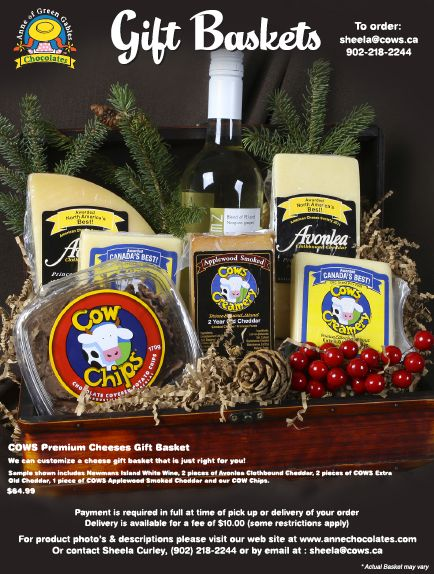 Anne of Green Gables Chocolates has the perfect gift baskets for the season featuring PEI cheeses, chocolates & more. Check them out here: http://peiflavours.ca/index.php/flavours-trail/listing/Anne-of-Green-Gables-Chocolates/