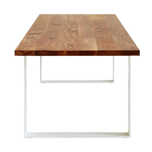 MARK TUCKEY loop - steel dining table. shown with a 40mm american oak top and steel base powder coated white.
