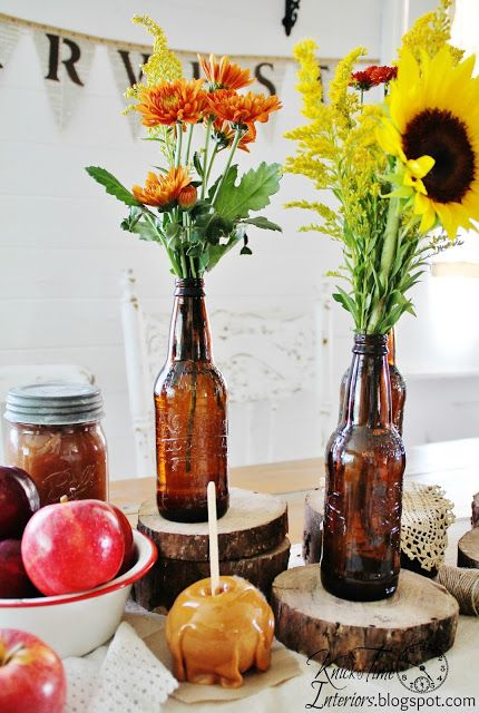 Knick of Time: Harvest Party...It All Started with Root Beer - love the flower vase bottles.. cool
