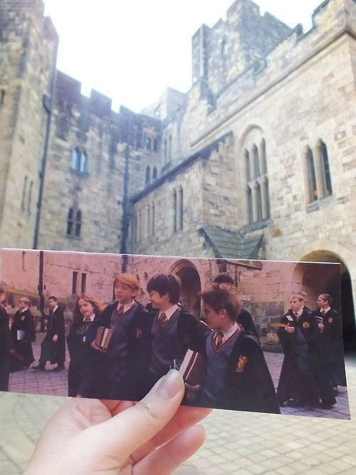 So I'm not really much into Harry Potter, but I love the idea of holding up a picture with a person/people in it in front of the same location, but empty or at a different time of day or year