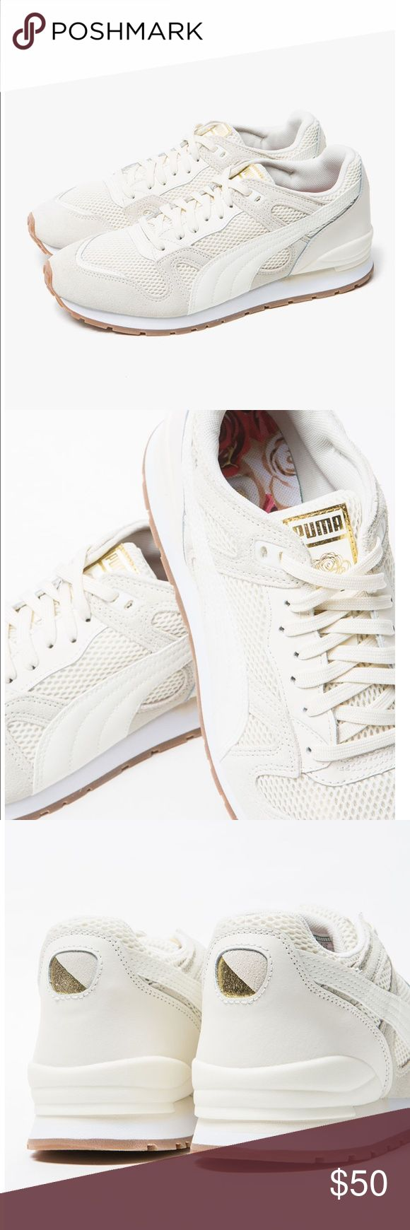 Duplex OG x CAREAUX Pumas Off-white Sz 8 I bought these Pumas off of Need Supply for my nursing school uniform. They were listed as whisper white, but it turns out they were more of an off white and didn't adhere to the dress code. They were only worn once, but there is some faint pink discoloration from where the dye from my scrubs rubbed off. I've included pics where there is discoloration, but it's hardly noticeable when worn. Listed as Eur 38.5, but I'm more of an 8 and they fit me…