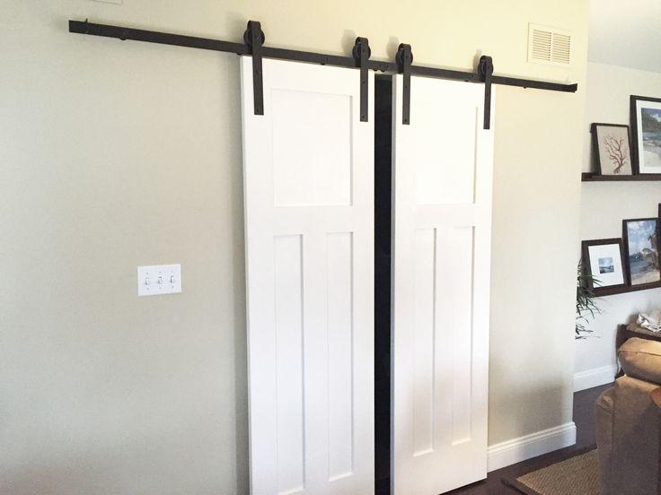 Double sliding barn door hardware kit for two doors with for Sliding french door hardware