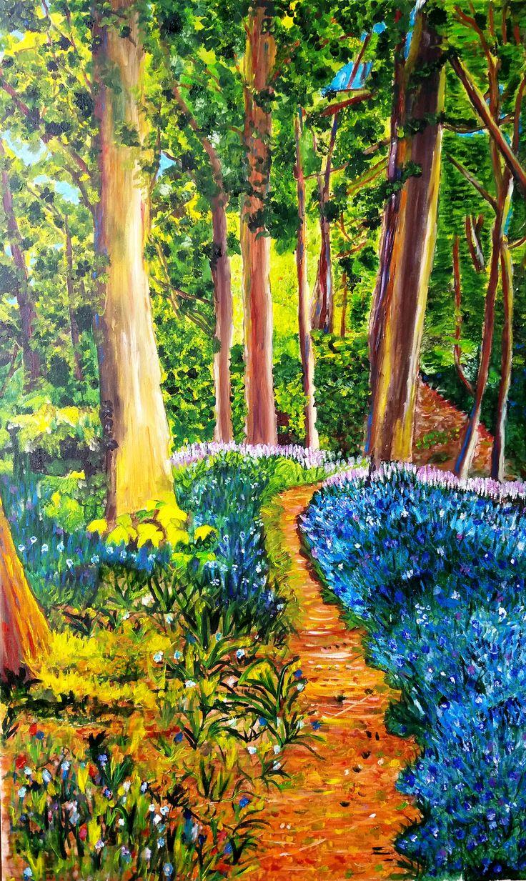 Elsa Contreras Paisaje bosque óleo sobre tela de 55 x 90 cms ORIGINAL