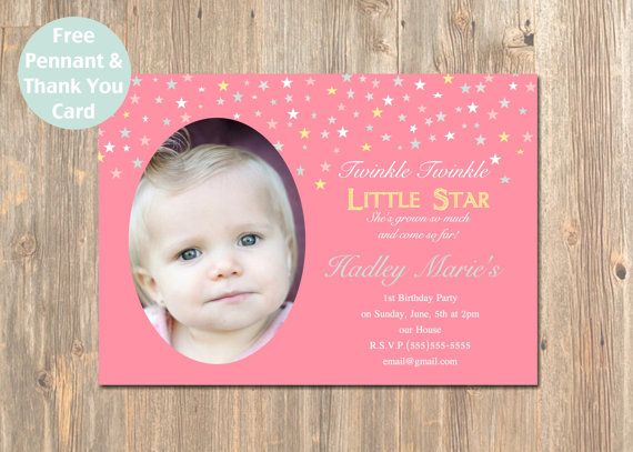 99 best Twinkle Twinkle Little Star 1st BDay-Girl images on - invitation for 1st birthday party girl