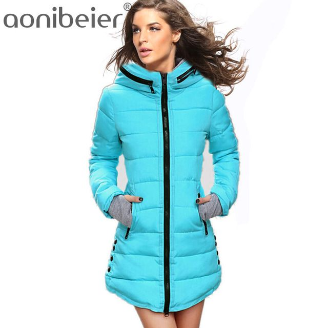Warm Winter Jackets 2017 Women Fashion Down Cotton Parkas Casual Hooded Long Coat Thickening Parka Zipper Cotton Slim #fashion #winter #style #lifestyle