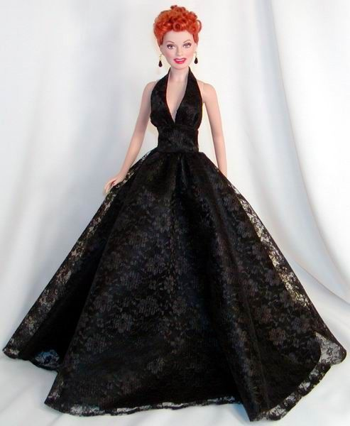 Black Lace Gown for I Love  Lucy doll-- Lucille Ball