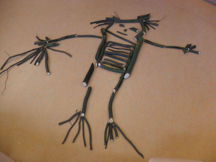 Figuren maken met snoei hout. (Vormgeven, afpassen, meten...dik- dun, lang- kort, krom, krommer, kromst :-))