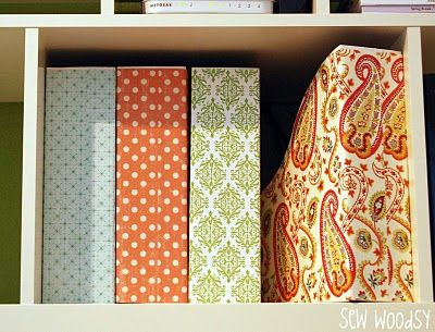 $2 Ikea magazine holders covered with scrapbook paper. I'm thinking I'm going to need a lot of scrap paper for all the ideas I'm finding for it. Who knew?
