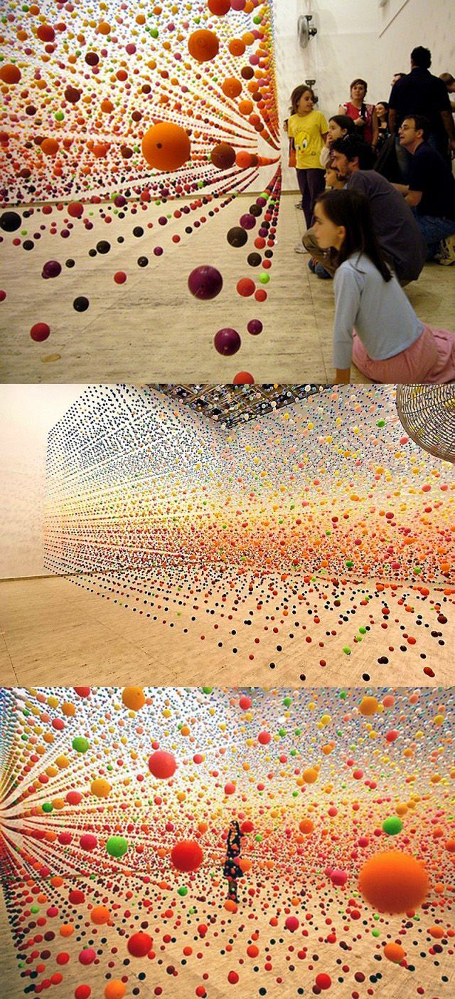 Suspended Bouncy Ball Installation 1