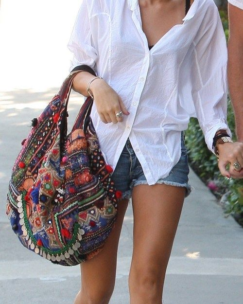 white button-up + statement bag.