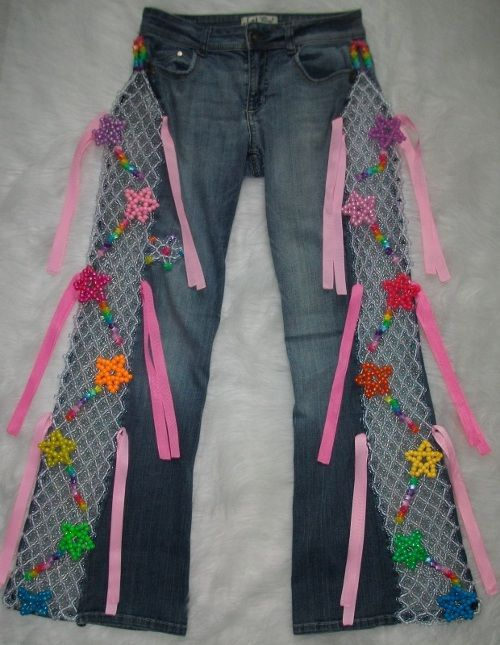 Kandi rainbow star rave pants https://www.etsy.com/listing/158069180/kandi-beaded-rainbow-star-rave-pants