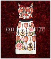 Итальянские романтические тропические цветы - розы печати Кружева бретели + патч вышивка пакет бедра юбка костюм