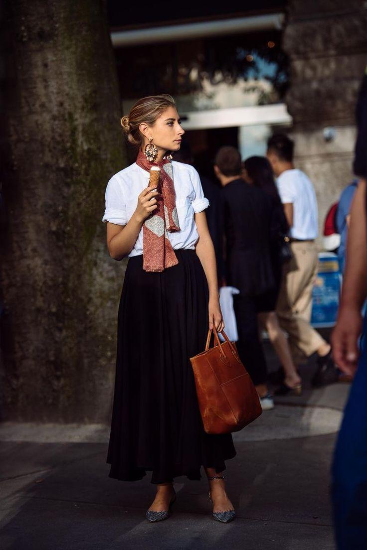 JENNY WALTON white top, black skirt,
