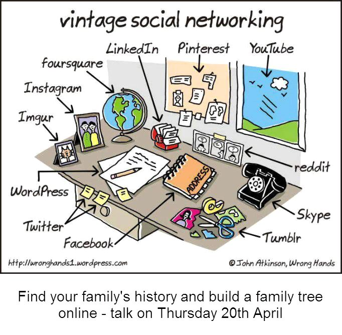 Family history talk: Electronic Family History // Join us for Robert Parker's experiences and favourites. Find out where to start, which websites to use for results and where to find the right data for your family among the billions of records. // Thursday 20th April