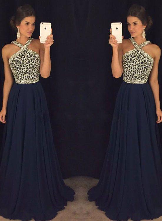Dark blue chiffon bead long prom dress, dark blue evening dress for teens