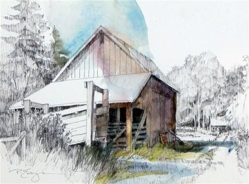 """Freds Barn"" - Original Fine Art for Sale - © Paula Ensign"